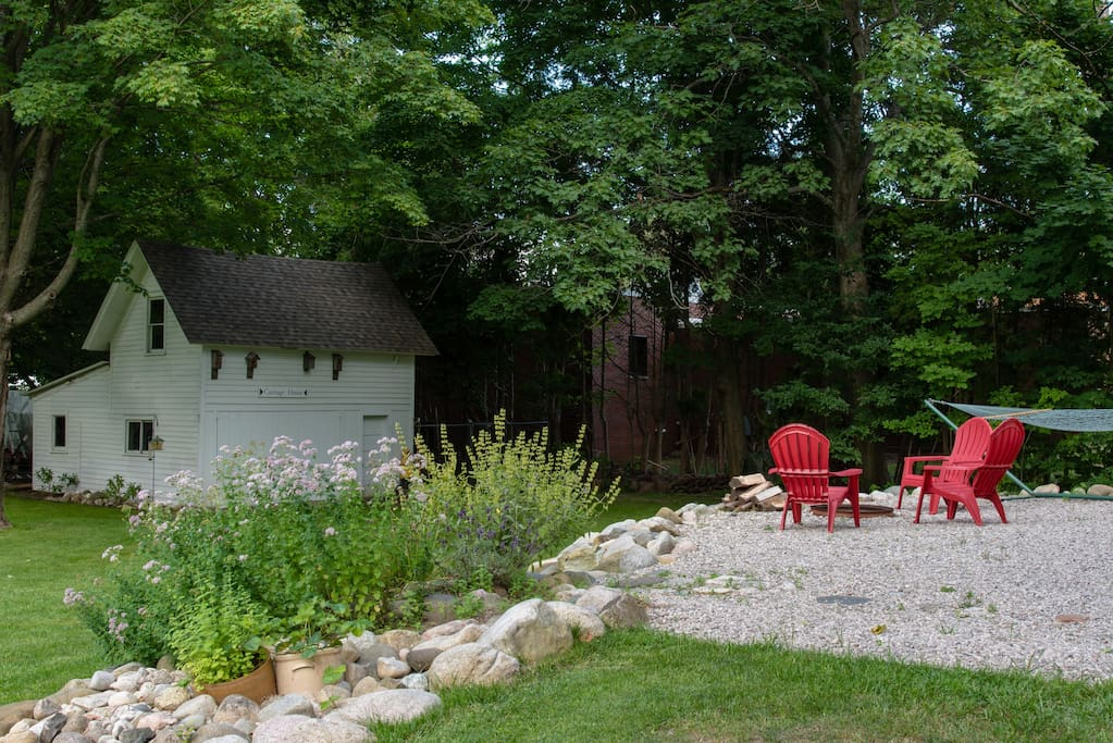 Back patio and Carriage House