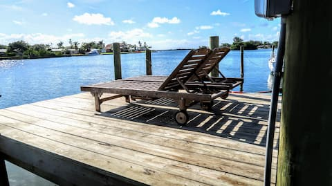 Dock with loungers- relaxation at its best
