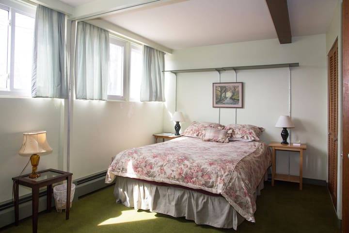 Very comfortable Queen size bed in bedroom with double closets