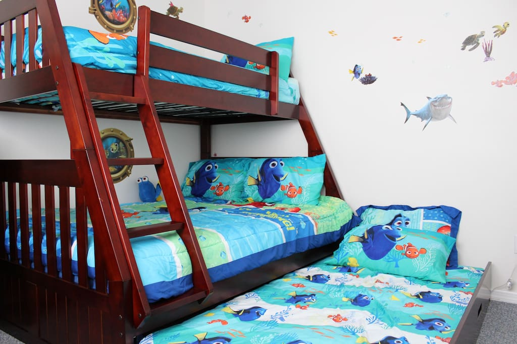 Trundle Bed Hides Away During the Day and is Easy to Take Out at Night When Needed.