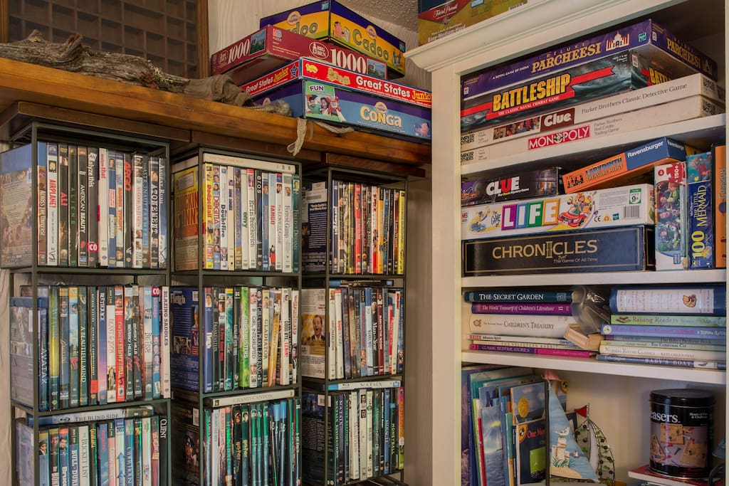 200 plus  movie dvd's, family, children from G, PG to R many family board games, and children books, games, puzzles  etc