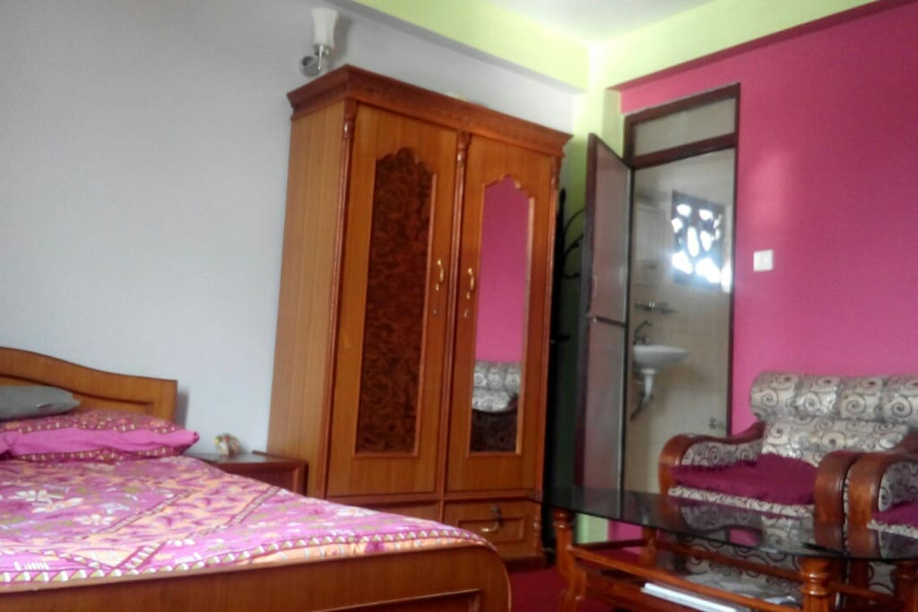 Queen size bed, sofa and bath room