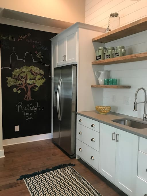 Kitchen space with basic dishware, toaster oven, and full-size fridge and freezer.  Complimentary coffee available for all guests.