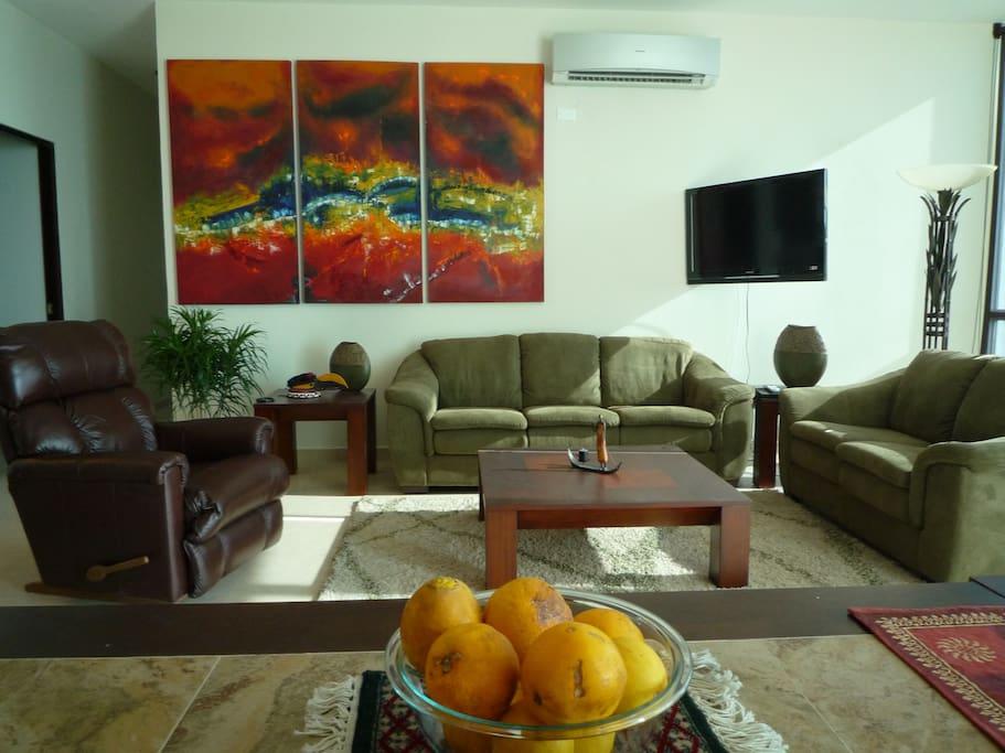 living room, local art, high ceilings, ocean views