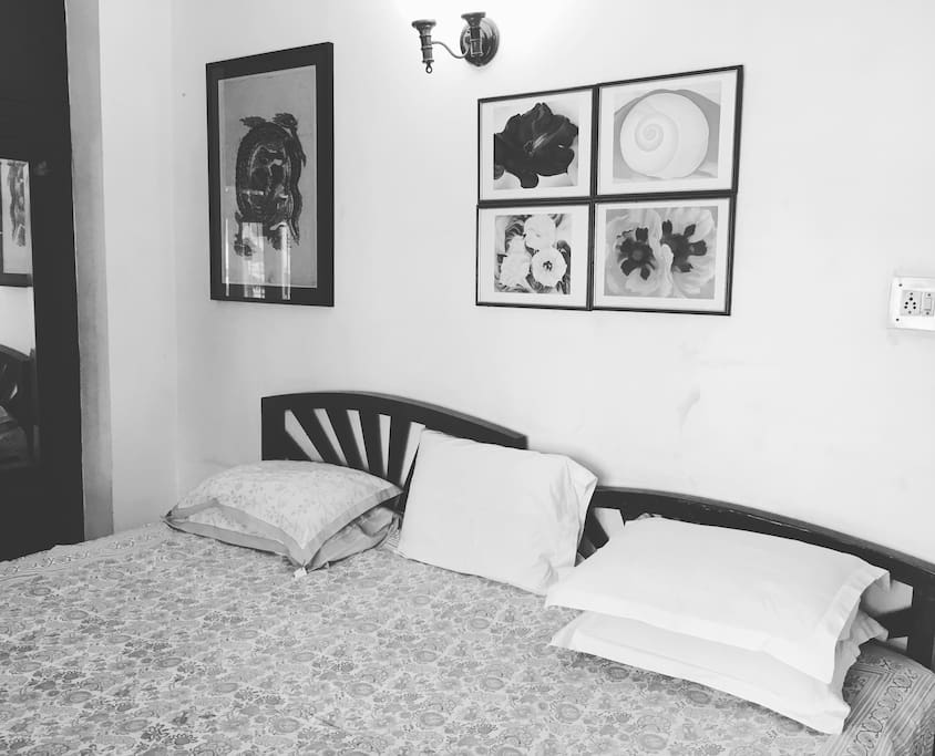 Bedroom with 2 Double Beds, Cupboard, Dressing Table, Bathroom and Amenities