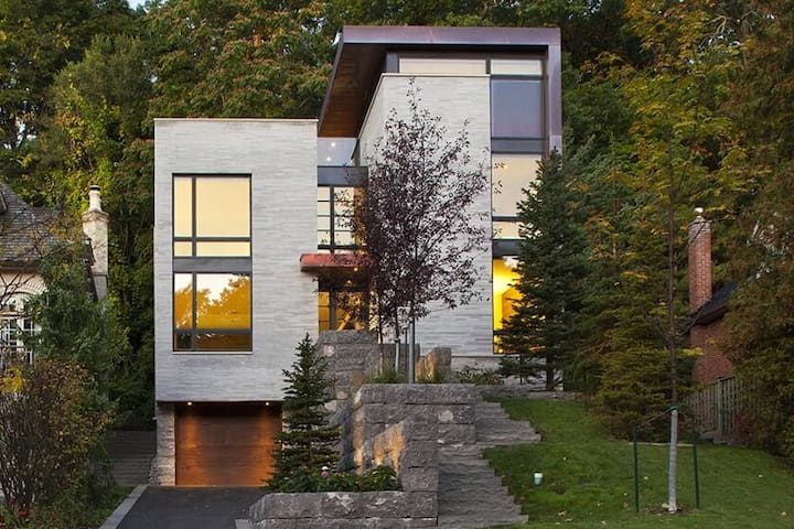 Modern House in the City in the Middle of a Ravine