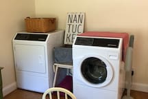 Washer and dryer are available for guests staying more than 4 nights.  1-2 loads of laundry per week is the expectation.   I prefer guests to use my detergent: I use Norwex products.