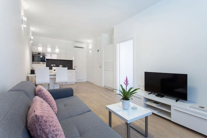 Apt 1: The well lightened living room is a space in which you can really enjoy and relax after a hard day's work or after discovering the wonders of Ljubljana&Slovenia.