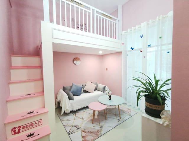 【悦舍•微甜】拍照超美,粉红少女心loft大床房
