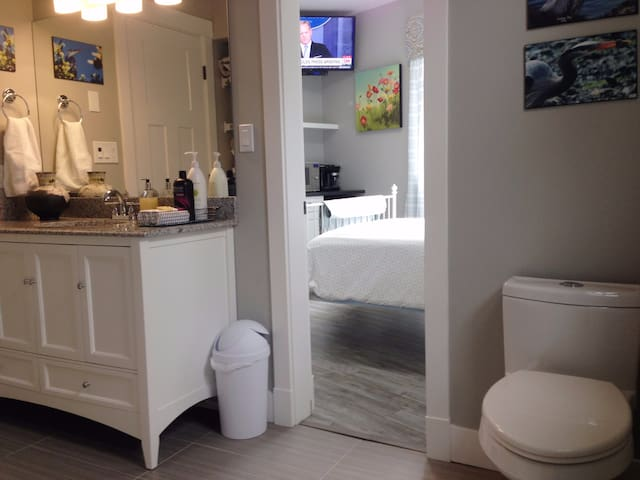 Connecting door from your bedroom to your private bath.