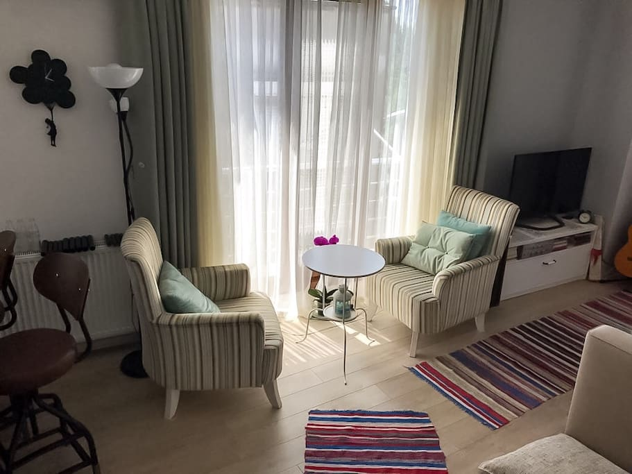 Wing chairs with coffee table