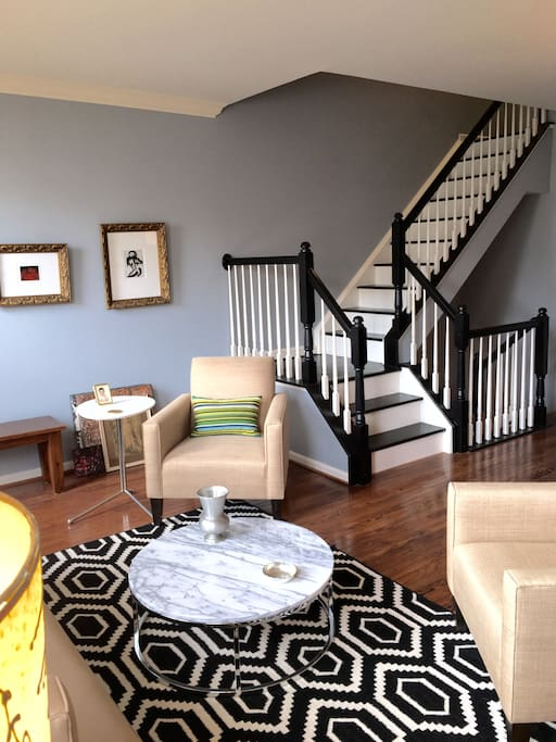 View from 2nd floor living room.  Staircase up to 3rd floor bedrooms and 2 full baths.
