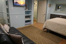 "32"" Smart TV.  Lots of closet space and built ins for your items."
