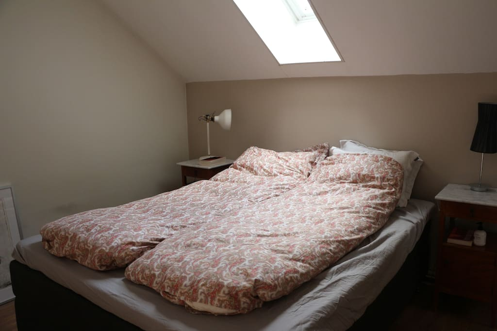 Double bed in the loft bedroom.
