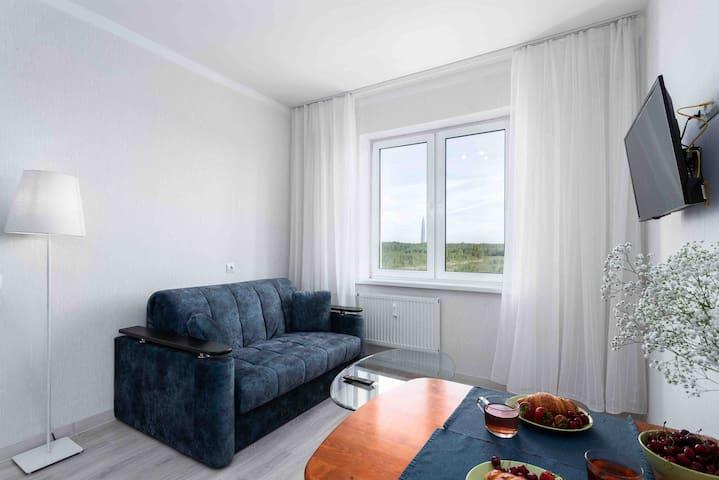 На кухне-гостиной можно расслабиться на диване-кровати после вкусного ужина, и отдохнуть под любимый фильм.