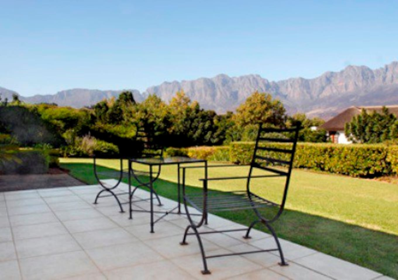 Second Patio:  view of Hottentot Hollands Mountain Range
