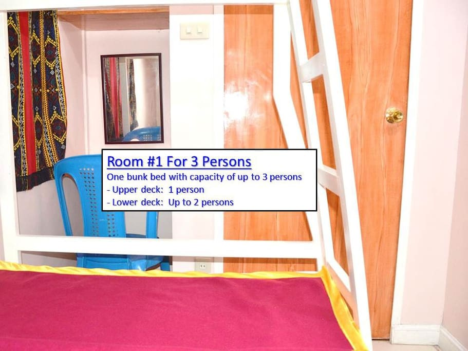 Bedroom #1 Sleeps up to three people on bunk bed, Bed sizes (Width x Length), Upper deck 36 x 72 inches (Sleeps one), Lower deck 42 x 72 inches (Sleeps up to two). Note: Bathroom/Toilet assigned to Bedroom #1 is located in front of the room...about 4 meters away.