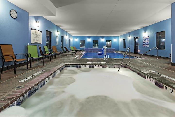 Hot Tub, Indoor Pool, Gym Access & Free Breakfast Buffet.
