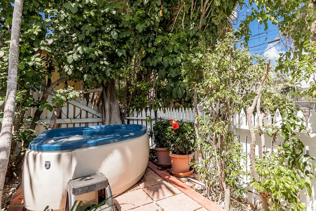 Two Person Hot Tub and private outdoor space at Porchside Paradise