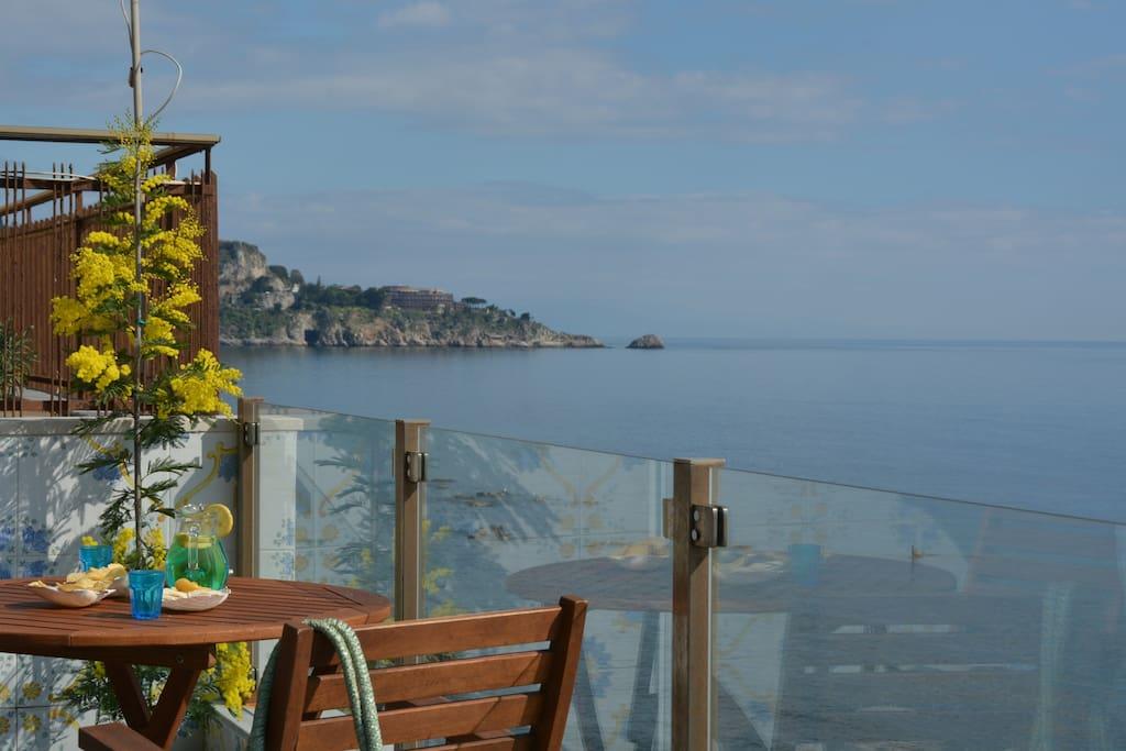 Vista baia di Taormina