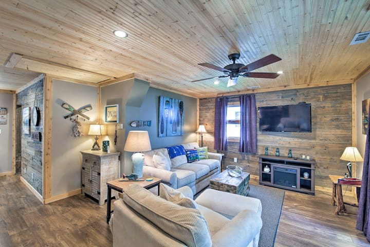The newly renovated interior features fishing and lake-inspired decor.