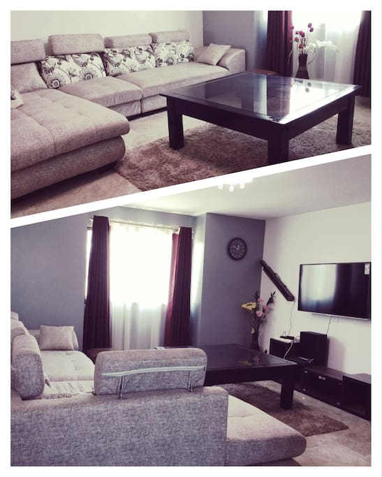 Simple and elegantly furnished living room with cable tv and wifi, as well as wireless bluetooth speakers