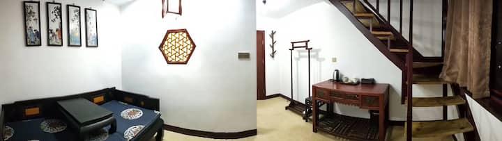 【河下人家民宿馆】复古loft 复式2床、老街、西游记作者吴承恩故居