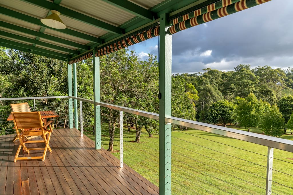 Private deck offers great views. We are located in Mapleton, on the Sunshine Coast Hinterland, which is part of the Blackall Range and close to the interesting towns of Montville, Maleny, Eumundi, Yandina, Kenilworth,  Noosa and the Glass House Mountains.