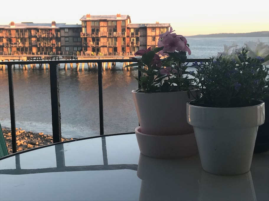 Enjoy the beautiful water & mountain views from the deck!