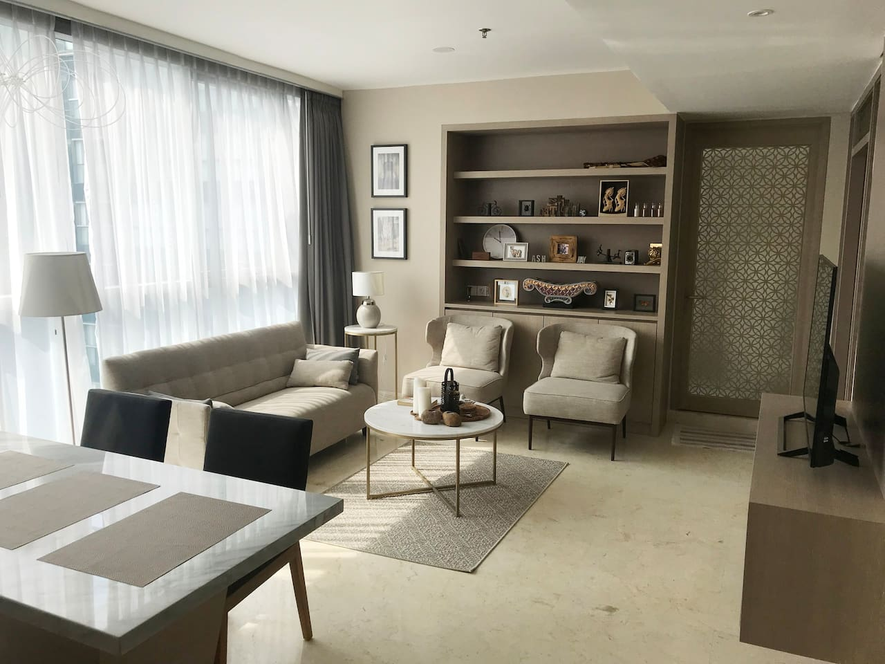Living dining with large screen television