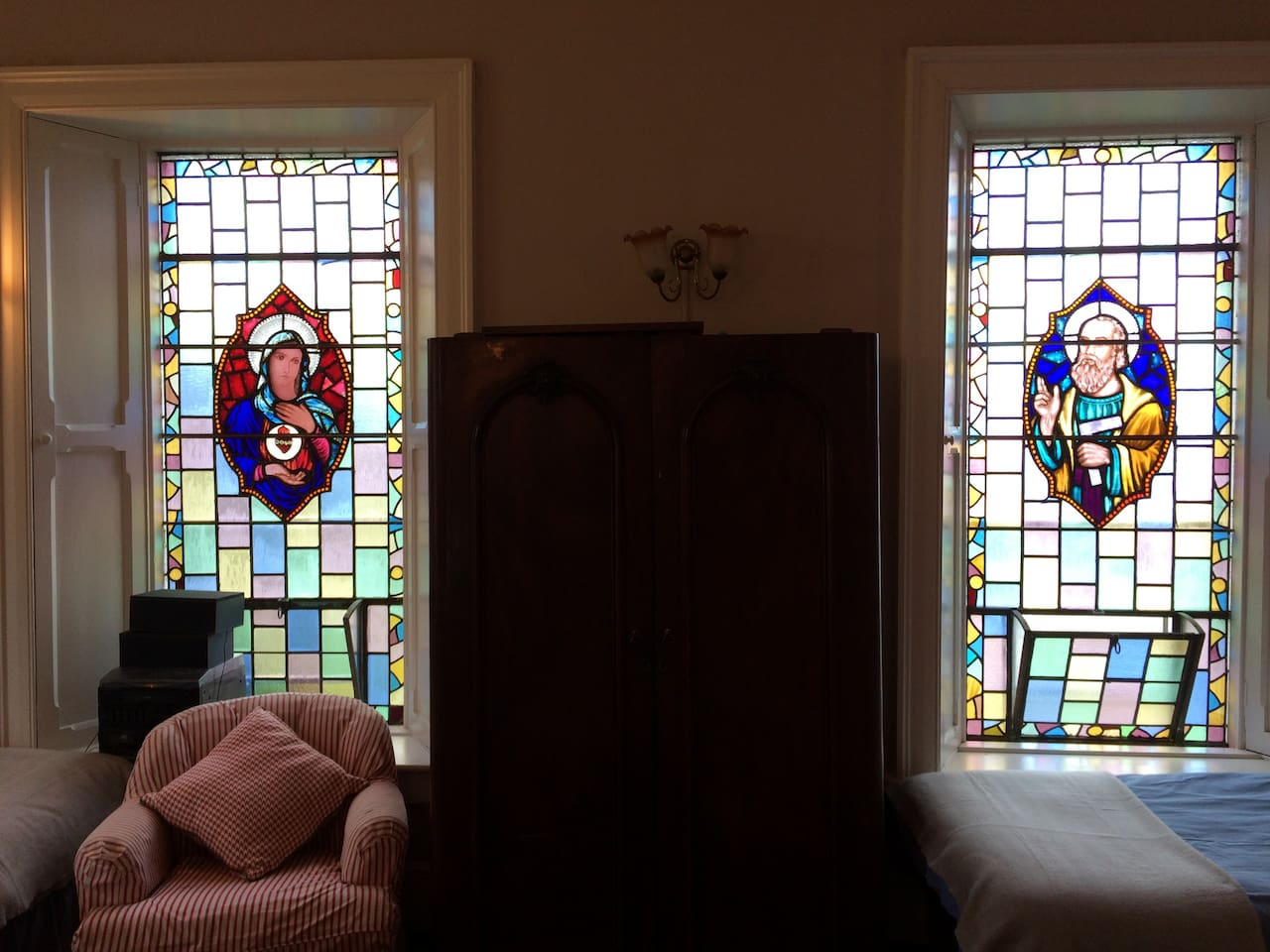 The Chapel features magnificent stained glass windows the house's past live as a home to the Christian Brothers