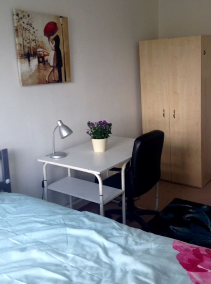 Double room desk and wardrobe