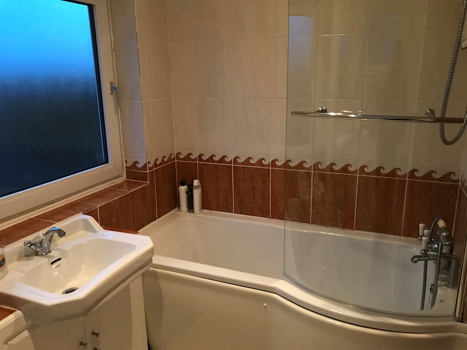 Shared bathroom with toilet. Separate toilet in downstairs of property also.