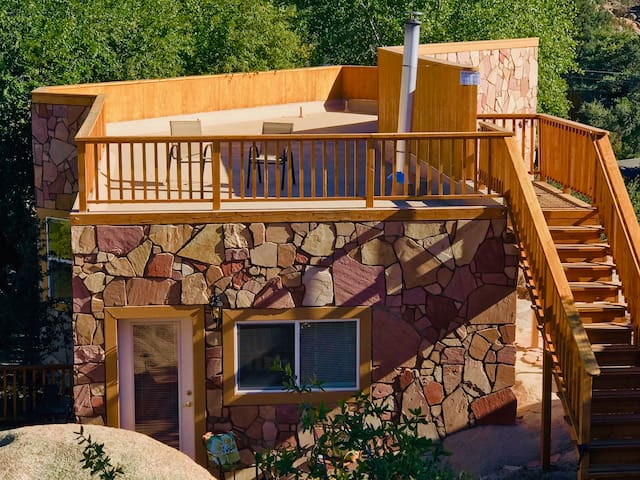 Views from the Cave Castle's rooftop deck feature many of the mountains of gorgeous Granite Dells