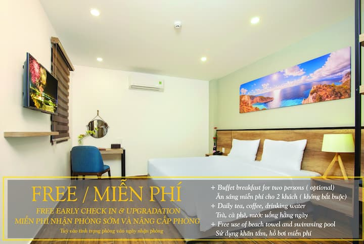 R4: DOUBLE ROOM@GOLDEN LOTUS CENTRAL-1MIN TO BEACH