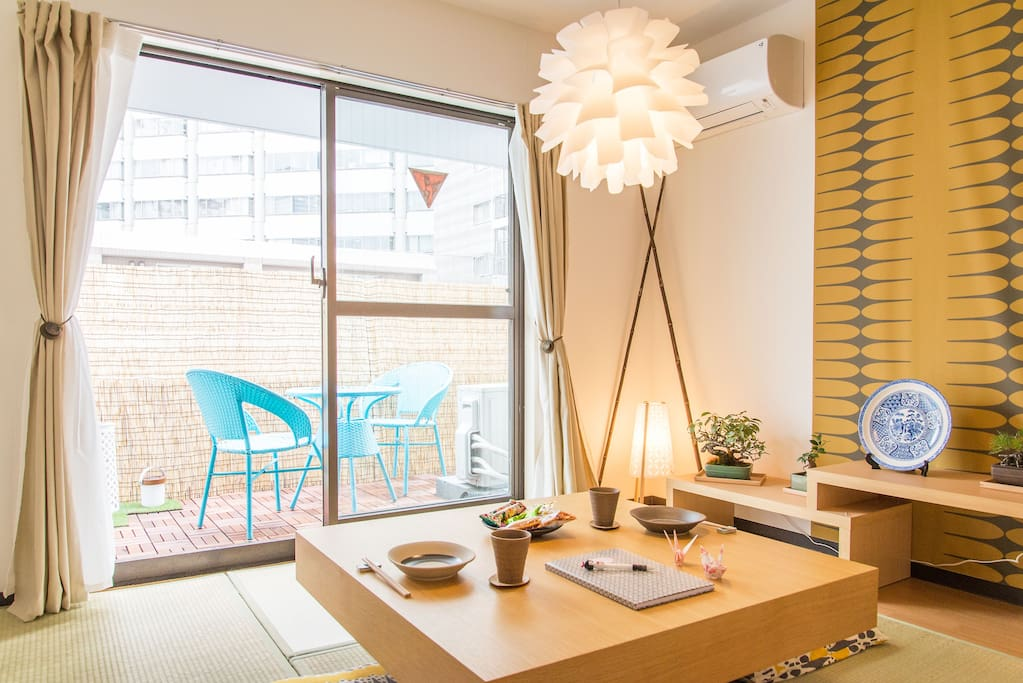 The living room gets full sun all day! An Airbnb Apartment this spacious, is quite a rarity in Tokyo :)