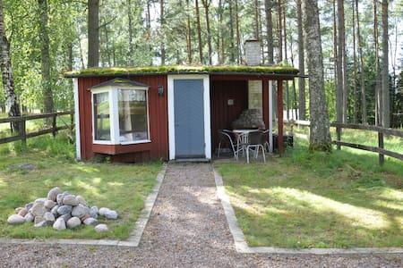 Gullig enskild lillstuga i skogen vid Skogsro spa.