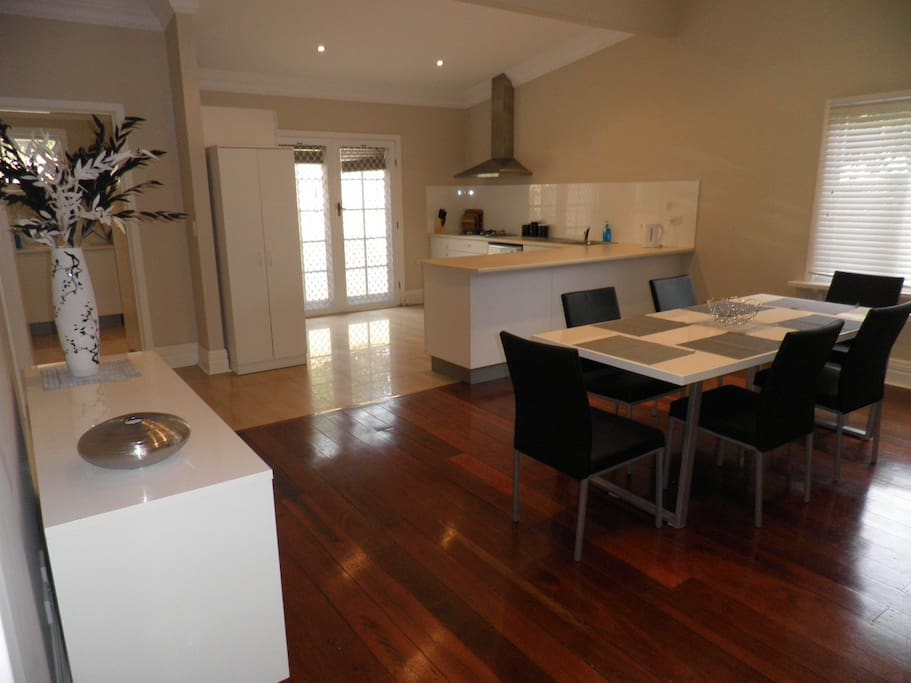 Spacious kitchen and dining area with airconditioning