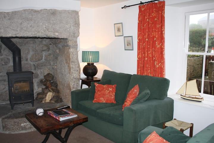 Traditional Cornish cottage in a coastal village