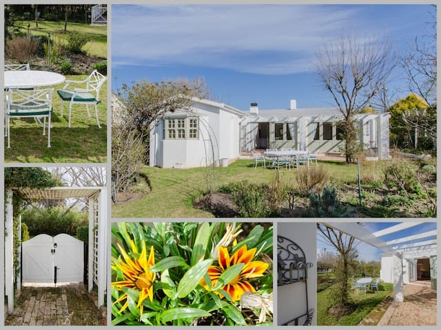 This garden is glorious in summer with many different types of plants and flowers to gaze upon. There is a 6 seater cast iron outside table and chairs for you to enjoy and a small weber braai.