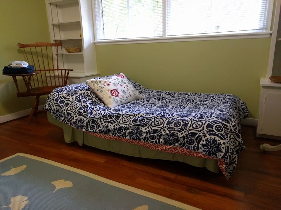 Futon becomes a comfortable double bed.