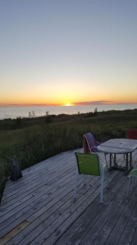 lake michigan beachfront cottage.