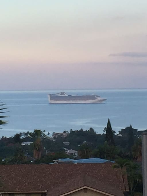 View of cruise ship from the bedroom, kitchen and living room areas