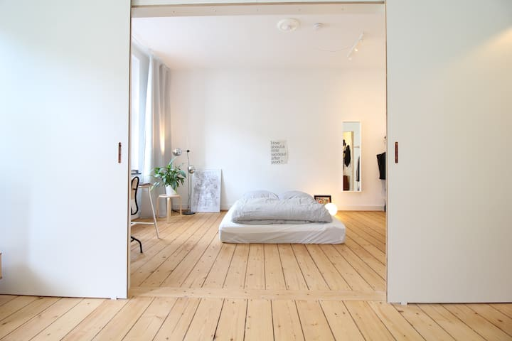 The whole apartment has a nice wooden floor which creates a cozy atmosphere.