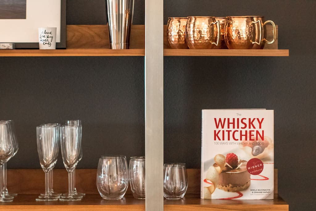 You'll have access to premium barware should you enjoy a nice drink.  Guests are encouraged to enjoy the stocked bar and also encouraged to give back to future guests.