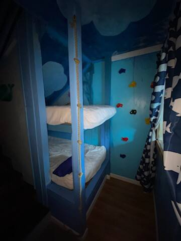 These downstairs bunkbers are not made simply because they go unused for so long that then the sheets and the blankets are not clean so we wash the sheets and put them in Ziplocs and then when someone is possibly could want to use them. Kids size