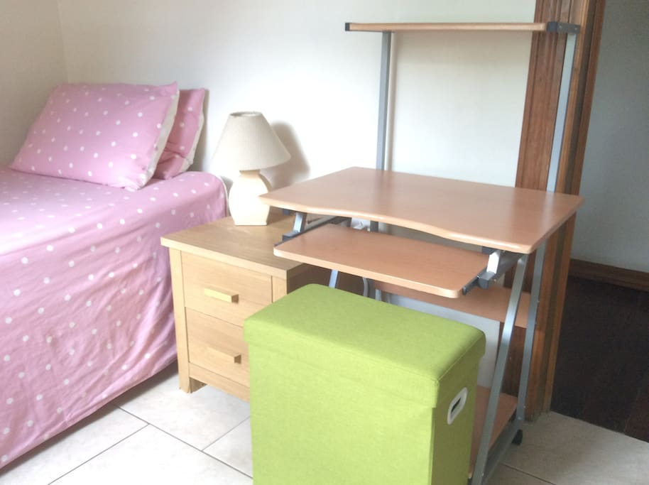 Single Bed, Bedside Drawers, Computer Table and Stool