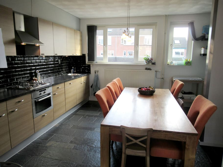 Large dining table in the kitchen