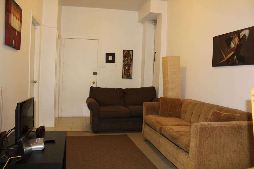 Sofa bed and couch. There is a lot of space and natural light. The apartment is on second floor.