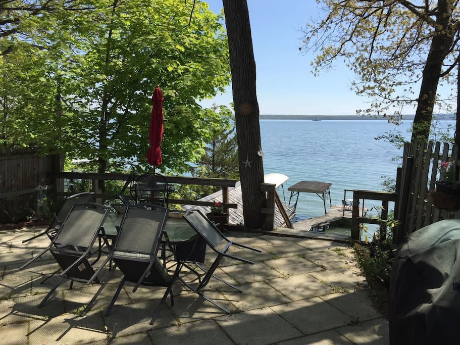 Large patio with beautiful lake view